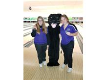 Kaitlyn Hansen and Tori Baker with Pete the Panther