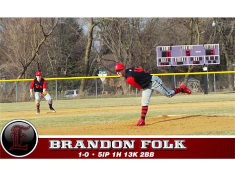 Brandon Folk was the Player of the Game vs Pecatonica/Durand tossing a one hit .12-0 shutout