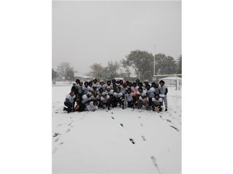 Practice had to be done in the snow during round 1 of the playoffs!