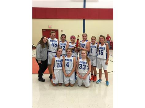 The 8th grade girls took 4th place at the Bourbonnais St. Paul's tournament.