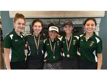 Grace Goodrich, Hannah Levy, Ashley Suh, Emily Christopher & Julia Velasquez are all smiles after taking 2nd place in the GBS JV Invite.