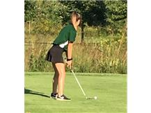 Madison Mueller teeing off on Hole 5 at Anets