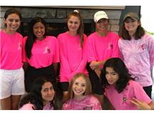 Supporting GBN Goes Pink, the JV golfers sported both vintage pink shirts & the 2018 neon pink shirts! Back row: Julia, Kathryn,Madison, Kaitlin & Alana. Front row: Lexi, Janie & Abby
