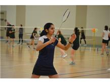 Captain Rhea Shah is ready to receive serve.