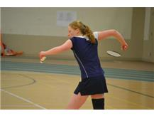 Good form from Leah while serving!