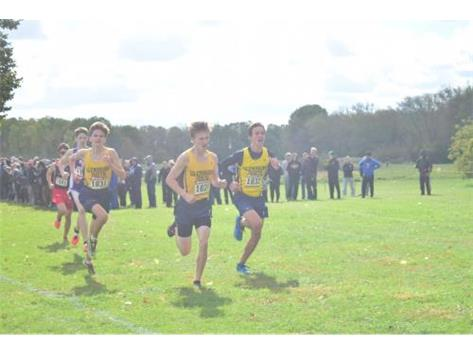 Charlie, James and Brian sprint to the finish at the IHSA Regional.  Great race, boys!