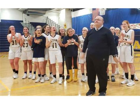 The varsity girls and fans honor Coach Wise for 21 great years of playing at the Wheaton North tourney!