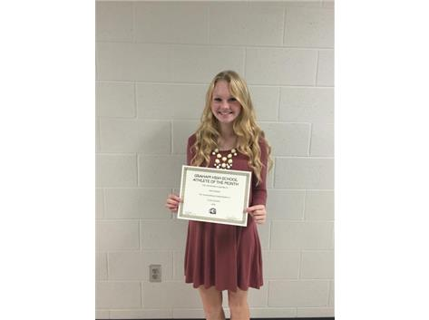 Congratulations to Holly Kamper- November student athlete of Month