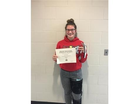 Congratulations to Alyssa Theodor- December student athlete of the month