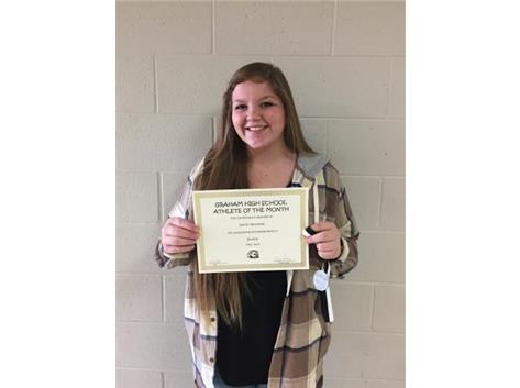 Congratulations to Kaitlyn VanHoose- January student athlete of the month for bowling.