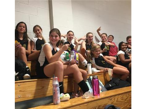 Celebrating JV Volleyball's fist win