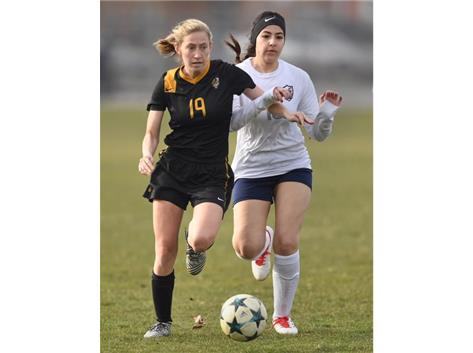 Gabby Lappo fights for possession against Elmwood Park (Photo Courtesy of Brian O'Mahoney-Pioneer Press/Chicago Tribune Preps)