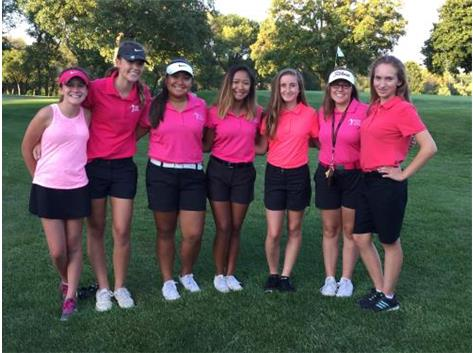 Girls golf team after their victory over Belvidere at Sinnissippi Golf Course