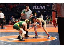 JD Sexton's first match at State ended in him pinning his opponent.