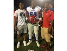 Jaelin Shaw 2018 East/West Football All-Star Player with JHS teammate Brandon Massey and Head Coach Anthony Barbour