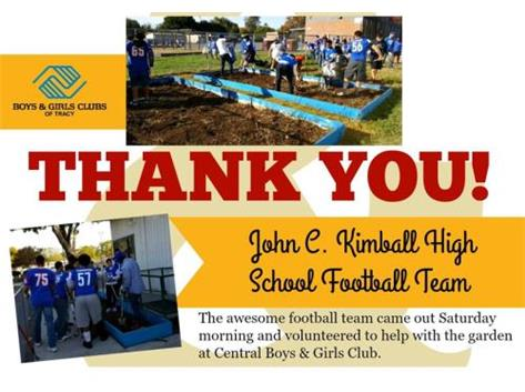 Thank you from the Boys and Girls Club to the team