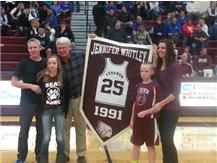 Jennifer Whitley UpDyke, Lebanon Class of 1991 is joined by her family as her jersey is retired in ceremonies on Jan. 10, 2014