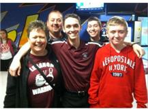Some Warrior fans who came up to the state bowling tournament to cheer on Nick.