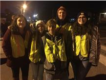 Jess,Mia,Austin,Jaron, and Delaney working the nighttime parade. Looking good and protecting the horses!