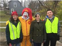 Maddie,Amanda,and Justin at the Water Street checkpoint and look who stopped by to say hello!