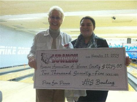 Senior Emily Temple raised over $600 for the Warren County Humane Association through the bowling teams Pins for Paws fundraiser.