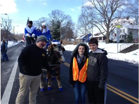 Brian, Bailey, and Alex guarding Oakwood Ave. in advance of the 1PM Carriage Parade.