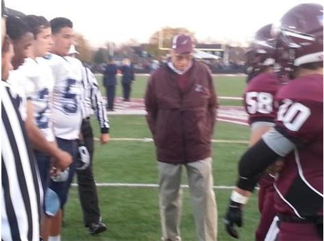 Former H.C. Jim VanDeGrift part of the Coin Toss for the Miamisburg Game