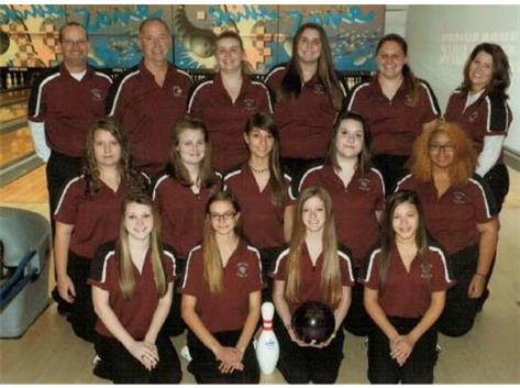 The 2014-2015 LHS Girls bowling team. Bailey Perkins ( front row left) advanced to the district tournament after rolling a 606 at sectionals.