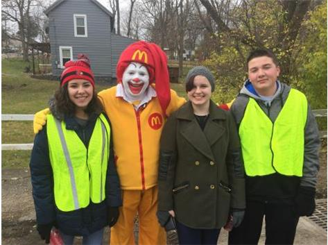 Maddie, Amanda, and Justin meet up with Ronald McDonald while running the Water Street checkpoint during the Lebanon Carriage Festival.