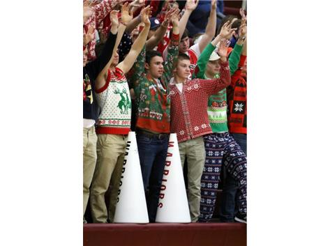 Ugly Christmas sweaters at the Lebanon vs. Springboro game