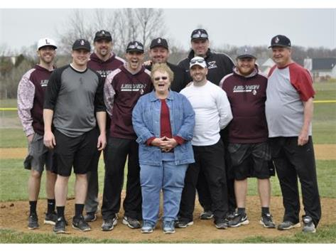 Lynn Russell Wood and the LHS Baseball coaches at the annual Al Russell preseason finale