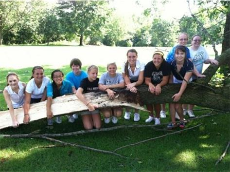Girls' Golf team assist in the clean up at Harmon G.C. after a severe summer storm