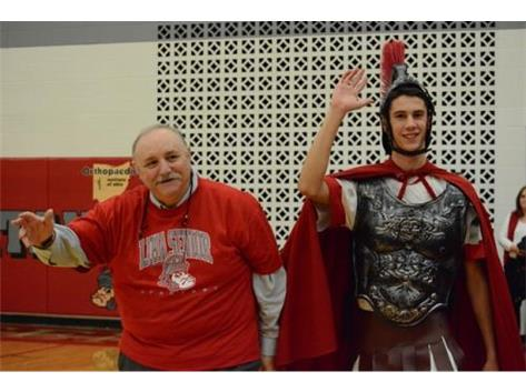 The original Spartan - Judge Rick Workman - joins Special Spartan Will Jolliff in celebrating the 50th anniversary of the Spartan mascot.