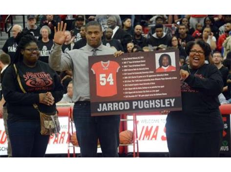 Lima Senior retires Jarrod Pughsley Spartan football jersey. Pughlsey plays for the Kansas City Chiefs.
