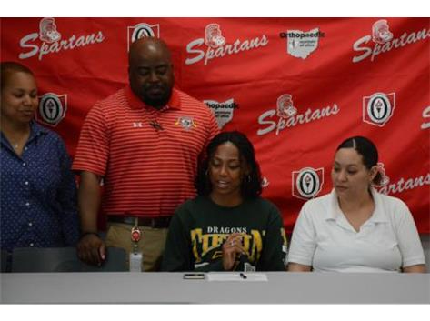 Tierea Cotten signs her National Letter of Intent to run track at Tiffin University next year.