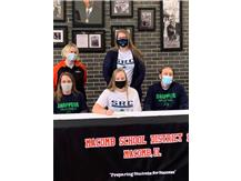 Congratulations MHS Volleyball player Lael McKee! She signed her NLI to play for Spoon River College.