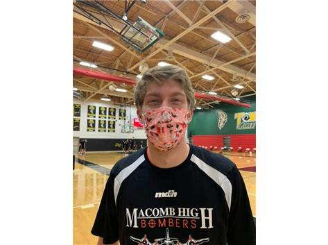 Adam Farr is sportin' the Christmas mask for the Bomber Boys Basketball opener at ATown tonight.