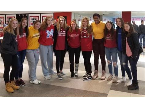 Lady Canes with Vannessa Garrelts cheering on Miami at NIU 1-5-2019.