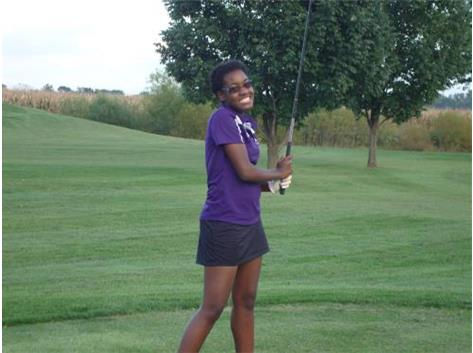 DeAnn Hudson, sophomore, playing in a match at Bent Oak Golf Course, Breese.