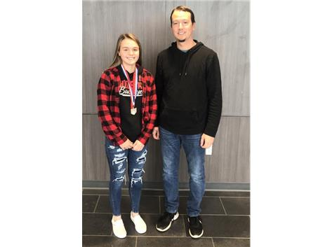 Alyssa Butler earned runner up low medalist at the Division 1 Golf Districts held at Eagle Sticks in Zanesville. She participated in a playoff for the right to advance to the state tournament. The medal arrived today and was presented by Coach Todd Wallace. Congratulations Alyssa!!!