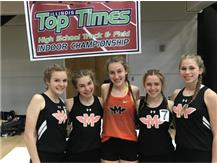 At the Illinois Top Times Indoor Championships Vivian Van Eck finished in 9th place in the 3200m Run with a lifetime best of 10:57.64.  That was the 4th fastest 3200m in Minooka Girls Track and Field history.  The 4 X 800m Relay team (Julia Dames, Kathryn Cichon, Olivia Krolczyk, and Audrey Boles) finished in 11th with a season best time of 9:48.36.
