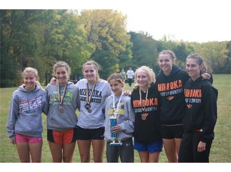 The Minooka Girls team of Gaby Gall, Morgan Crouch, Moira McAsey, Ashley Tutt, Mackenzie Callahan, Kaitlyn Chetney, and Caleigh Beverly ran tough at Sterling.