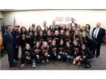 The Girls Soccer team was recognized at the School Board meeting Monday, December 4th for winning back-to-back state championships.  Go Moon Lady Tigers!!  Great season !