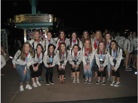 The high school dance team at the celebration for Champions, getting ready for the parade of Champions at Disney!
