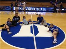 Hanging out on the court at Cameron Indoor Stadium after the Duke Volleyball Game.