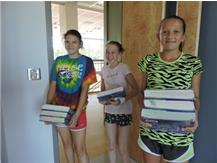 MS VB players volunteering to help teachers move into the new building.