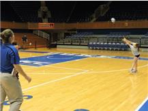 Coach Browning and Sydnee getting a little practice time at Cameron Indoor stadium.