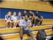 MS VB Players hanging out with the Duke basketball players.
