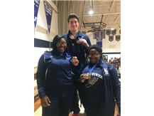 Jamilah, Ajanae, and Damion all earn medals at the first Throwers meet on 12/16/16