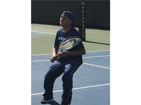 Andres Jimenez Castillo enjoys time on one of the off courts at the Lenz Tennis Center - Home of the Princeton University Tigers